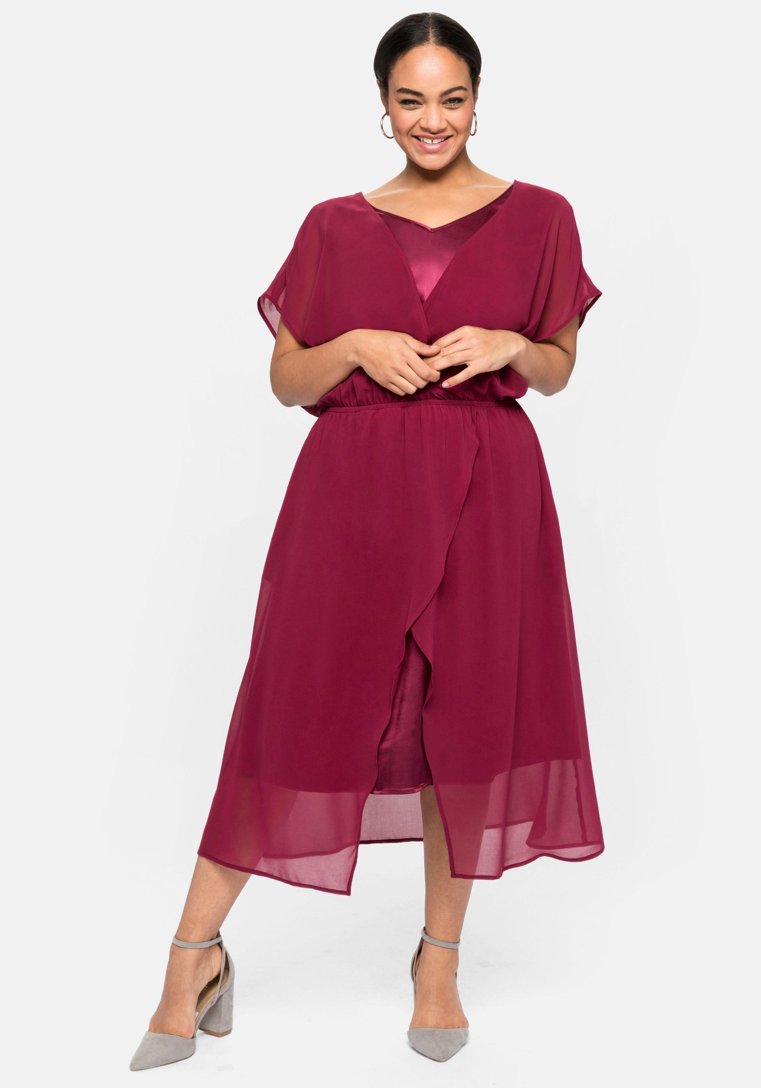 Sheego Abendkleid, im 2-in-1-Look, in Wickeloptik rot Damen Abendkleid Abendkleider Kleider