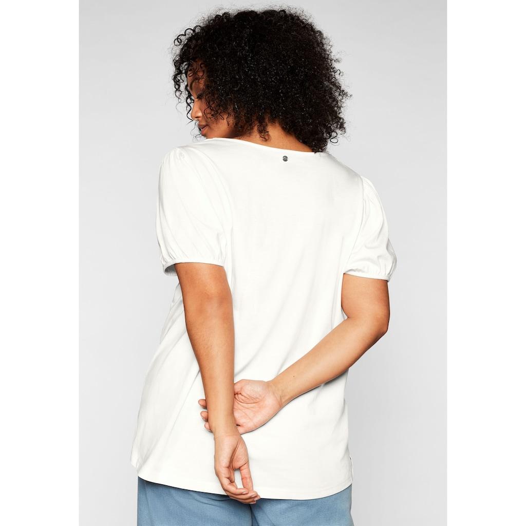 Sheego T-Shirt, mit aufwendiger Blüten-Stickerei
