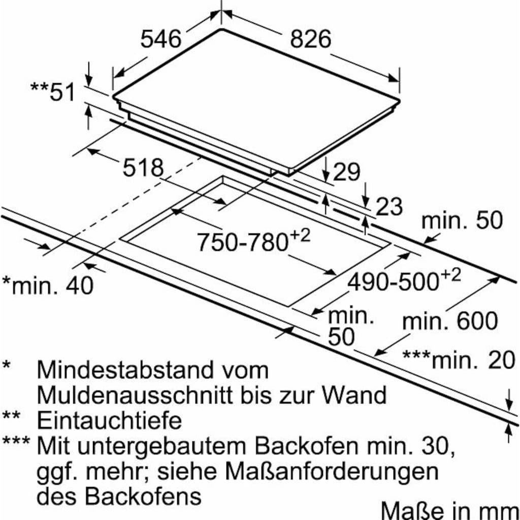 NEFF Flex-Induktions-Kochfeld von SCHOTT CERAN® »T58TT20N0«, T58TT20N0, mit TwistPad®Bedienung