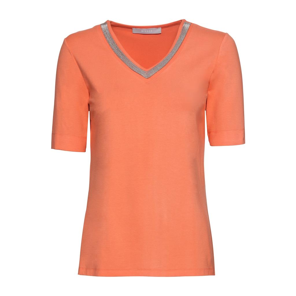 bianca V-Shirt »EDIRA«, stylischer Ketten Applikation am Halsausschnitt