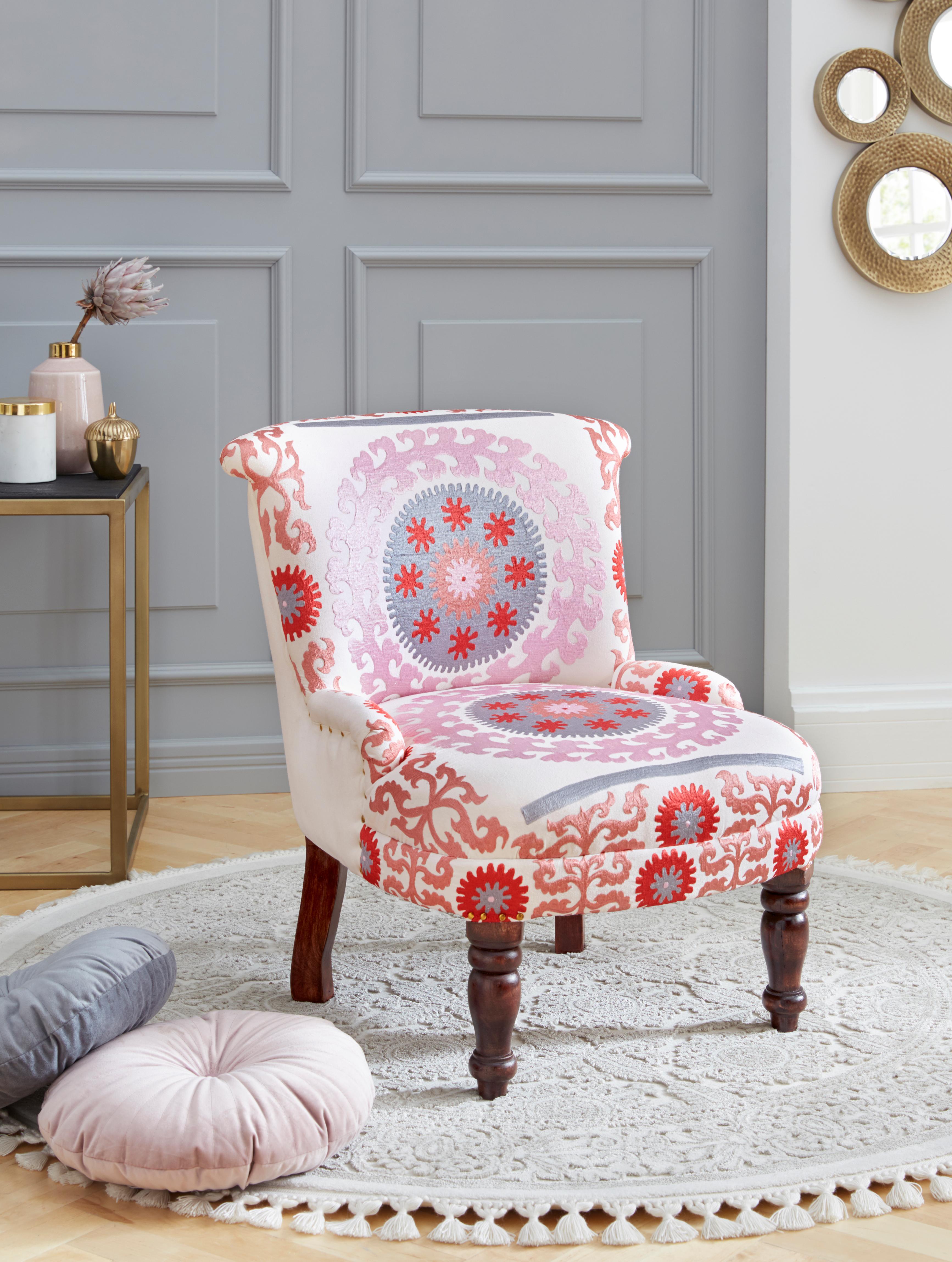 Leonique Sessel Jamal aus schönem Leinenstoff mit edlen Stickereien Sitzhöhe 39 cm