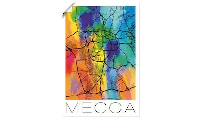 Artland Wandbild »Retro Karte Mekka Aquarell Hintergrund«, Landkarten, (1 St.), in vielen Größen & Produktarten - Alubild / Outdoorbild für den Außenbereich, Leinwandbild, Poster, Wandaufkleber / Wandtattoo auch für Badezimmer geeignet kaufen