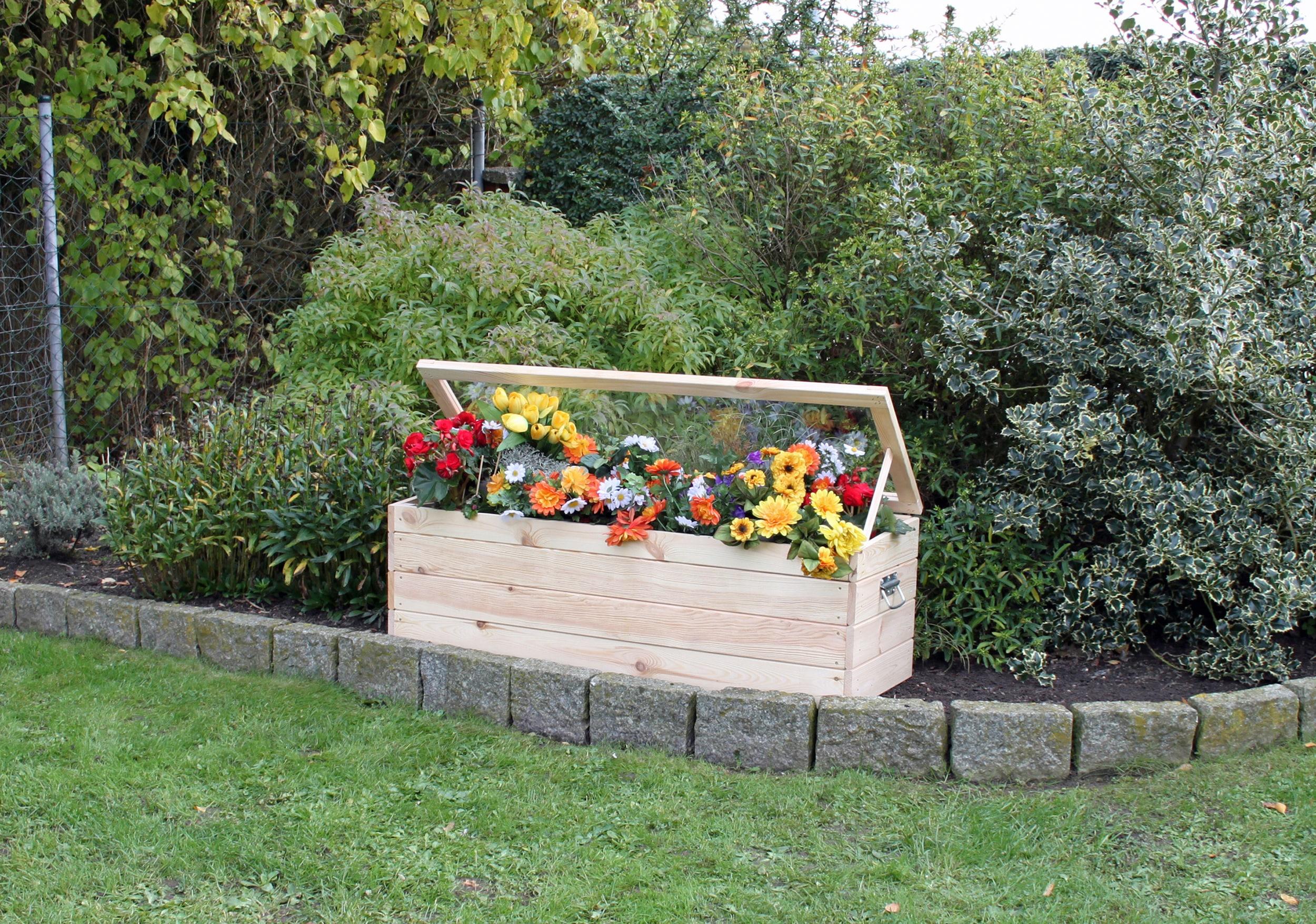 promadino Frühbeet, mit Boden und Folie, BxTxH: 118,5x40x42 cm beige Frühbeete Gewächshäuser Garten Balkon Frühbeet
