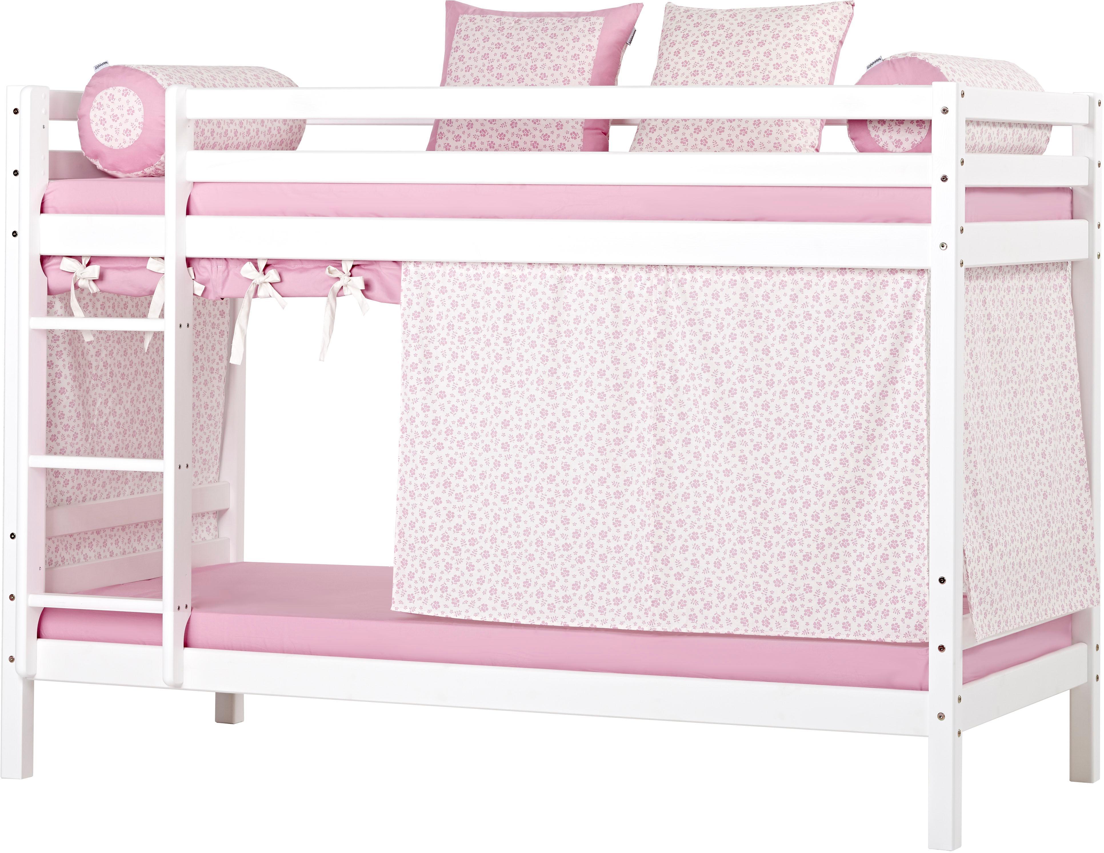 Hoppekids Etagenbett inkl Vorhang-Set 2 Matratzen 2 Rollroste und 2 Schubkästen