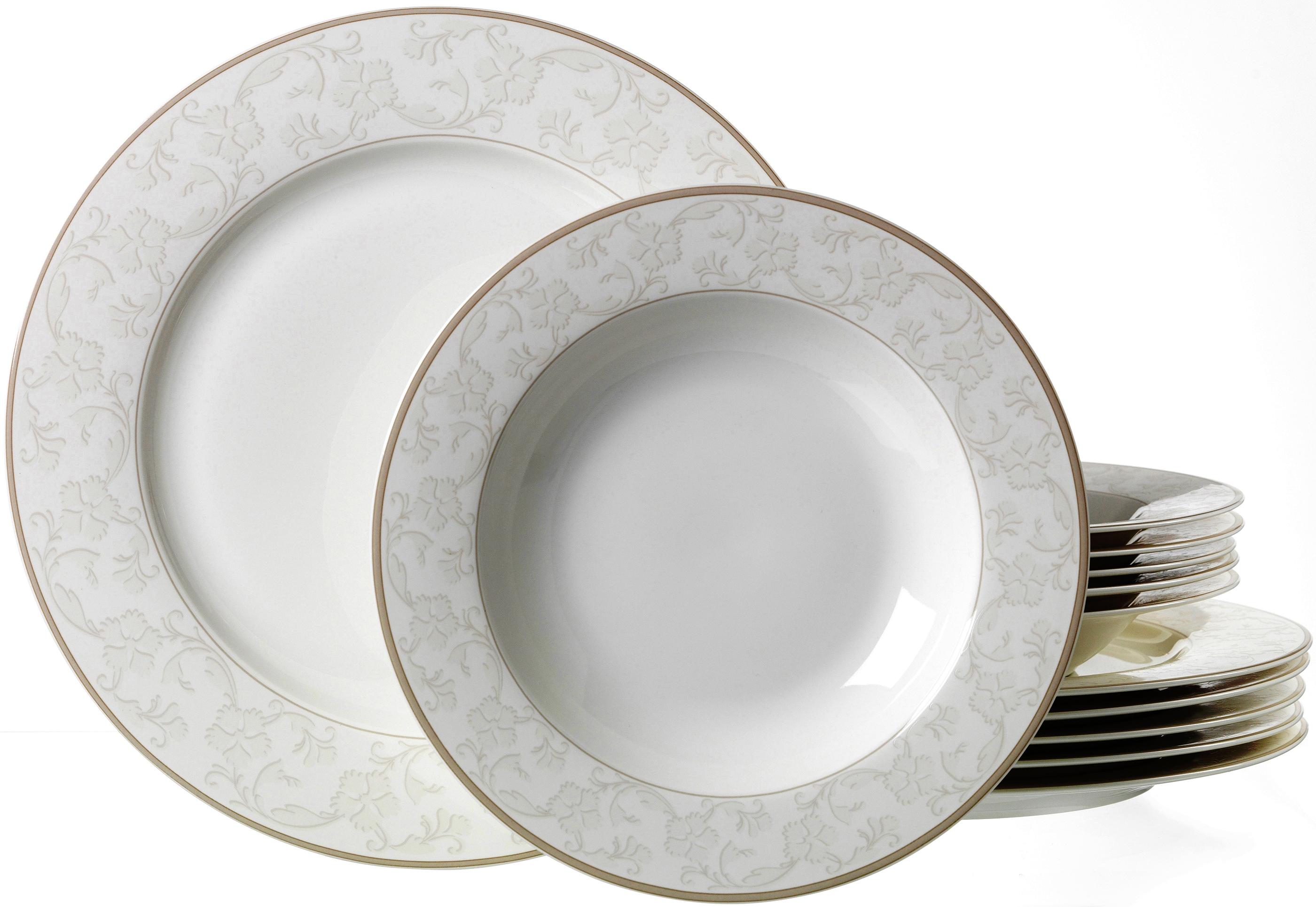 Ritzenhoff & Breker Tafelservice ISABELLA, (Set, 12 tlg.), Spülmaschinengeeignet weiß Geschirr-Sets Geschirr, Porzellan Tischaccessoires Haushaltswaren