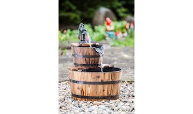 HEISSNER Set: Gartenbrunnen »Wooden Barrel«, BxTxH: 45x45x59 cm kaufen