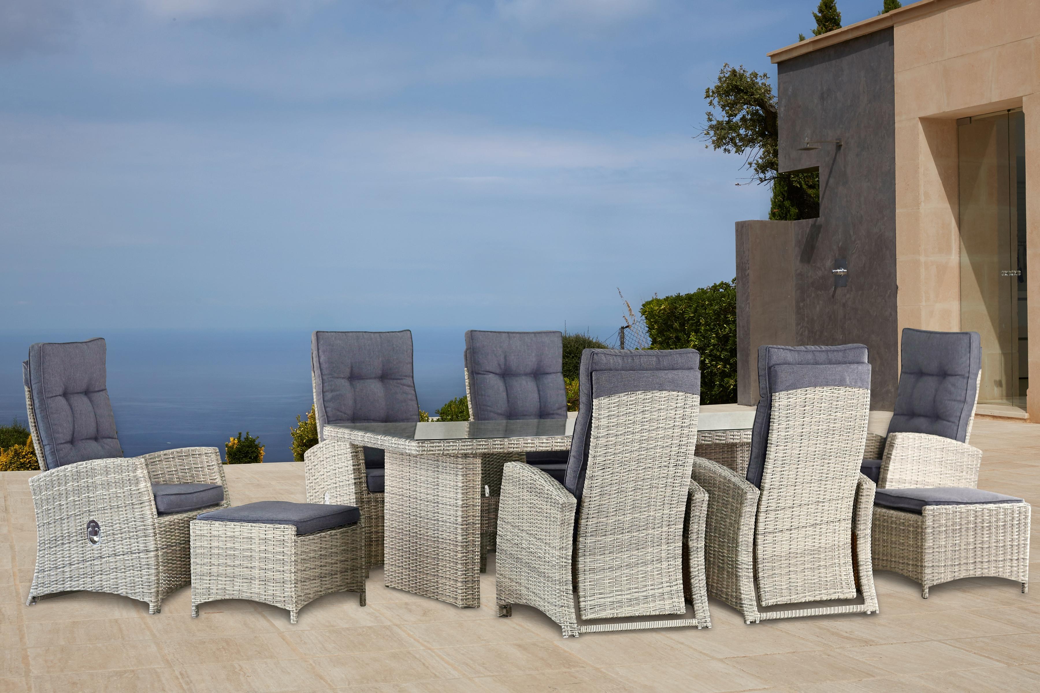KONIFERA Gartenmöbelset Monaco 17-tlg6 Sessel 2 Hocker Tisch Polyrattan