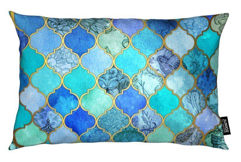 Dekokissen Cobalt Moroccan Tile Pattern Juniqe