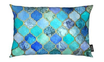 Juniqe Dekokissen »Cobalt Moroccan Tile Pattern«, Weiches, allergikerfreundliches Material kaufen