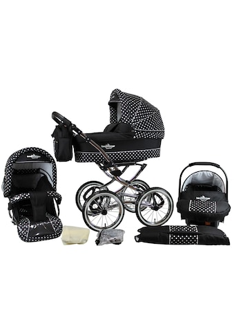 bergsteiger Kombi-Kinderwagen »Venedig, black & white dots, 3in1«, 15 kg, Made in Europe kaufen