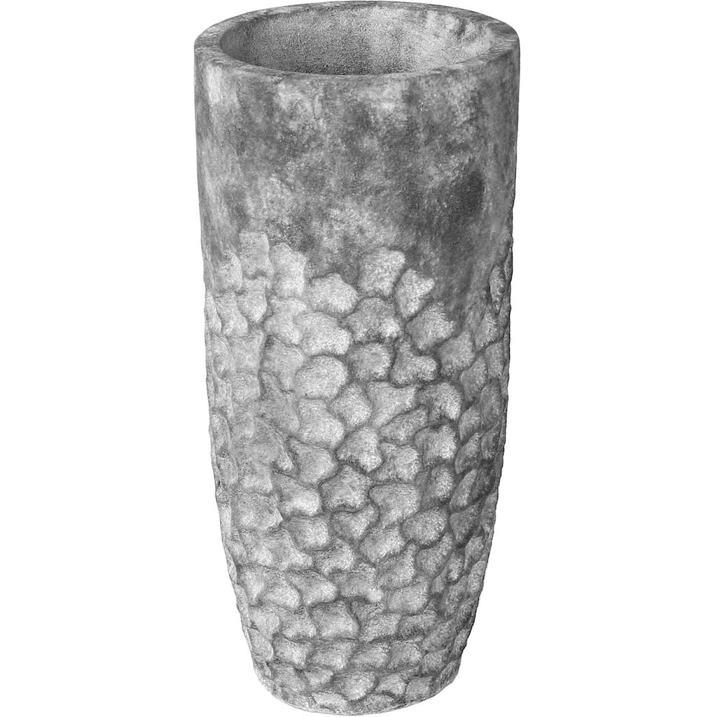 GILDE Pflanzkübel »Soma, grau«, (1 St.), dekorativer Blumentopf, groß, aus Magnesia, in verschiedenen Größen erhältlich, In- und Outdoor geeignet, Wohnzimmer