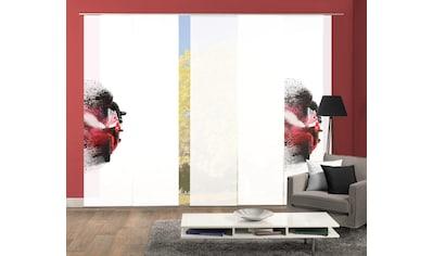 HOME WOHNIDEEN Schiebegardine »AKIDO 5er SET«, Dekostoff-Seidenoptik, Digital bedruckt kaufen