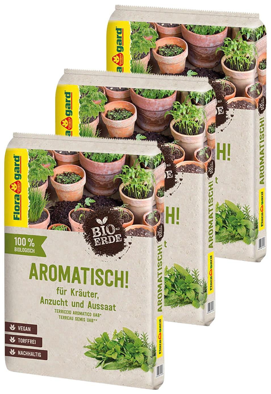 Floragard Anzucht- und Kräutererde Aromatisch, Kräuter- Aussaaterde, 3x10 Liter braun Zubehör Pflanzen Garten Balkon