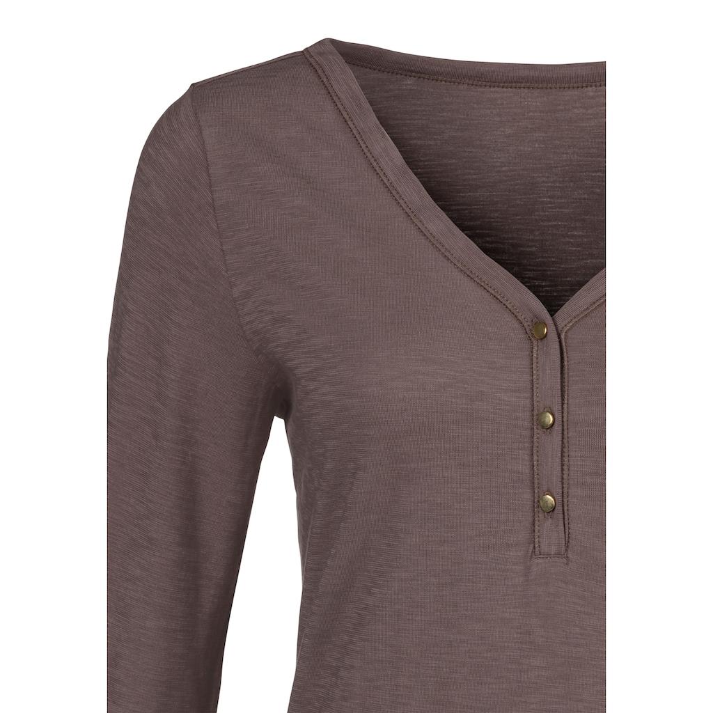 Vivance 3/4-Arm-Shirt, mit Knopfleiste und goldfarbenen Knöpfen