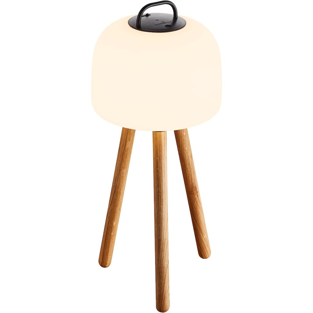 Nordlux LED Stehlampe »Kettle 36 Tripod 31 Eiche«, LED-Modul, Warmweiß, inkl. LED, Batterie, integrierter Dimmer, Außen und Innen, Eichen Fuß