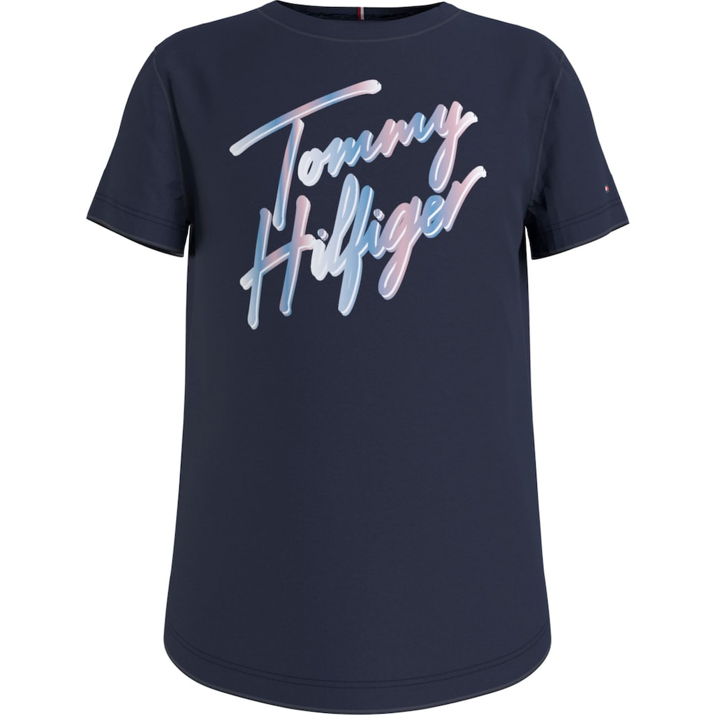 Tommy Hilfiger T-Shirt »SCRIPT PRINT TEE S/S«, mit mehrfarbigem Logo-Schriftzug
