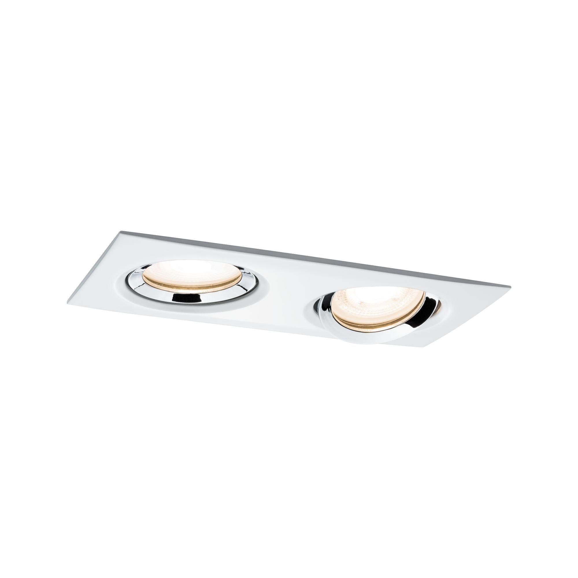 Paulmann,LED Einbaustrahler Set Nova Plus IP65 eckig GU10 Weiß matt & Chrom schwenkbar