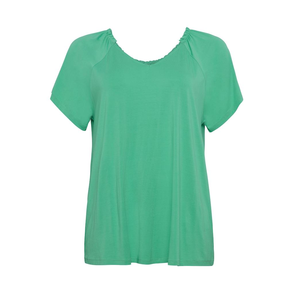 Sheego T-Shirt, mit Raglanärmeln und gerafftem Ausschnitt