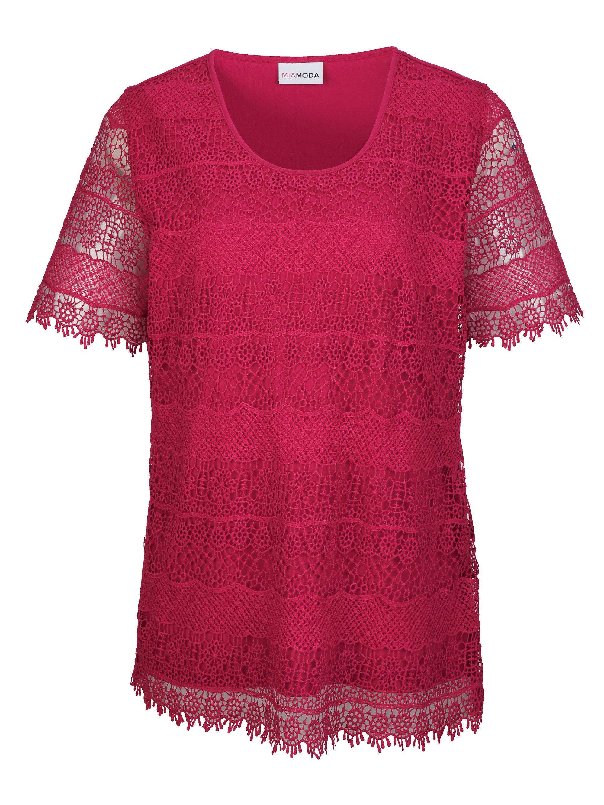 MIAMODA Spitzenshirt mit leicht transparenten Ärmeln | Bekleidung > Shirts > Spitzenshirts | Rosa | Ab - Baumwolle - Polyester | Miamoda