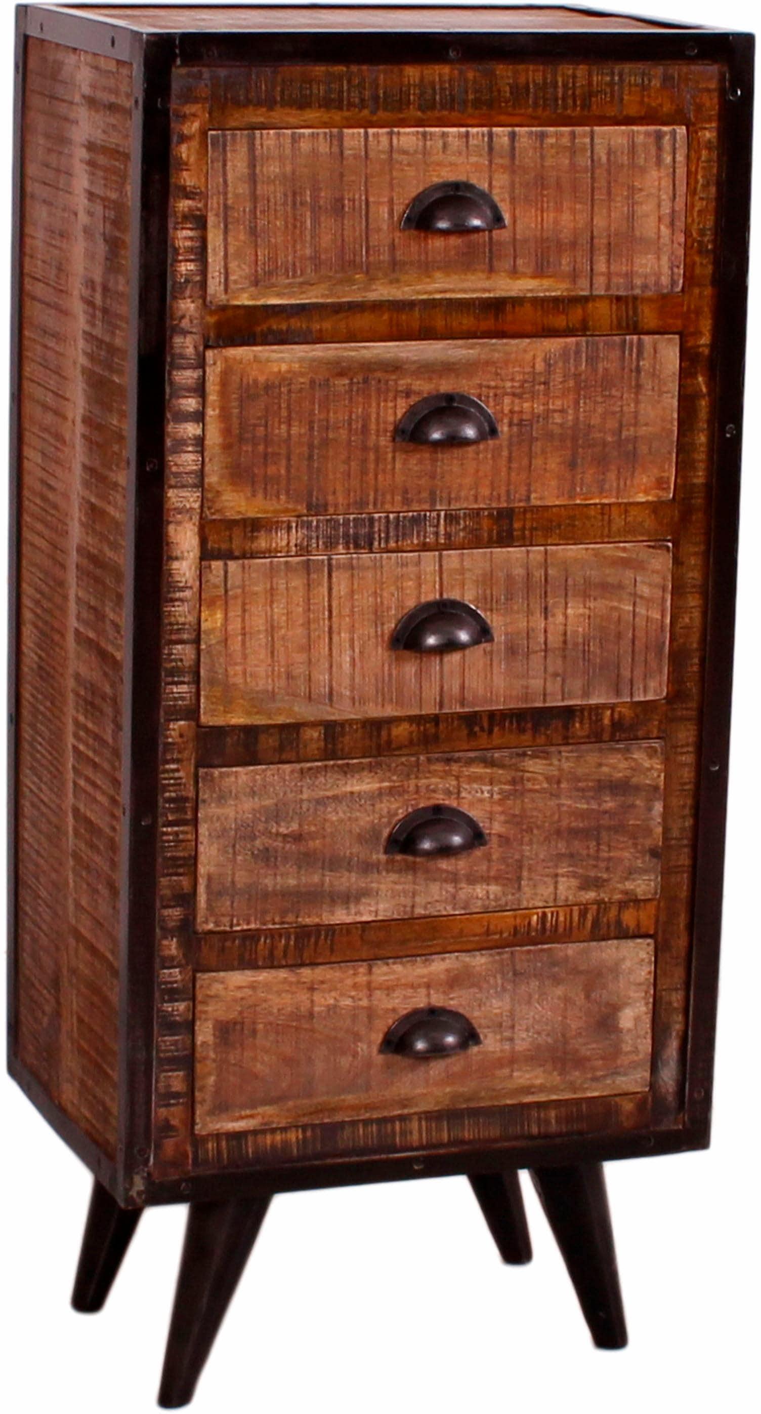 SIT Kommode Iron aus Mangoholz und Schmiedeeisen mit 5 Schubladen Höhe 110 cm