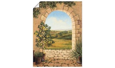 Artland Wandbild »Zitronenbaum vorm Torbogen«, Fensterblick, (1 St.), in vielen Größen... kaufen