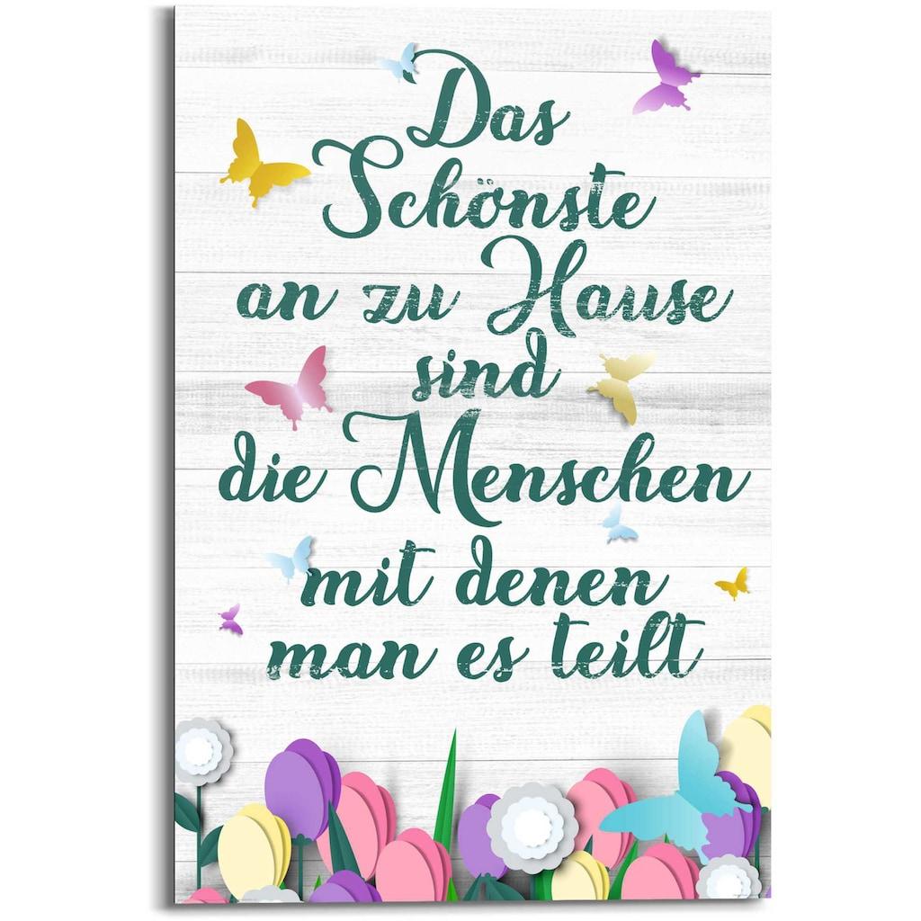 Reinders! Wandbild »Wandbild Zu Hause Familien - Lebensfreude - Weisheit«, Schriftzug, (1 St.)