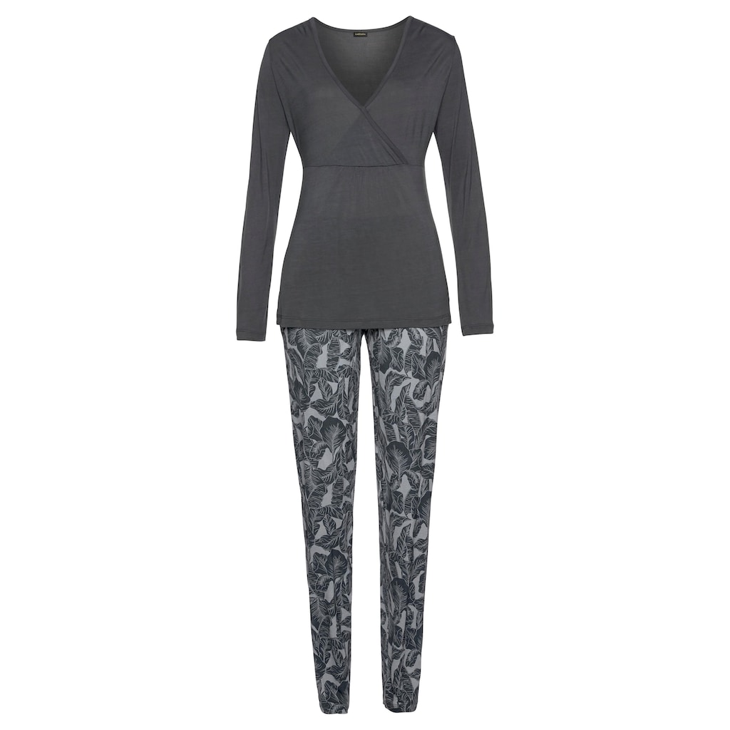 LASCANA Pyjama, mit Leaf-Print