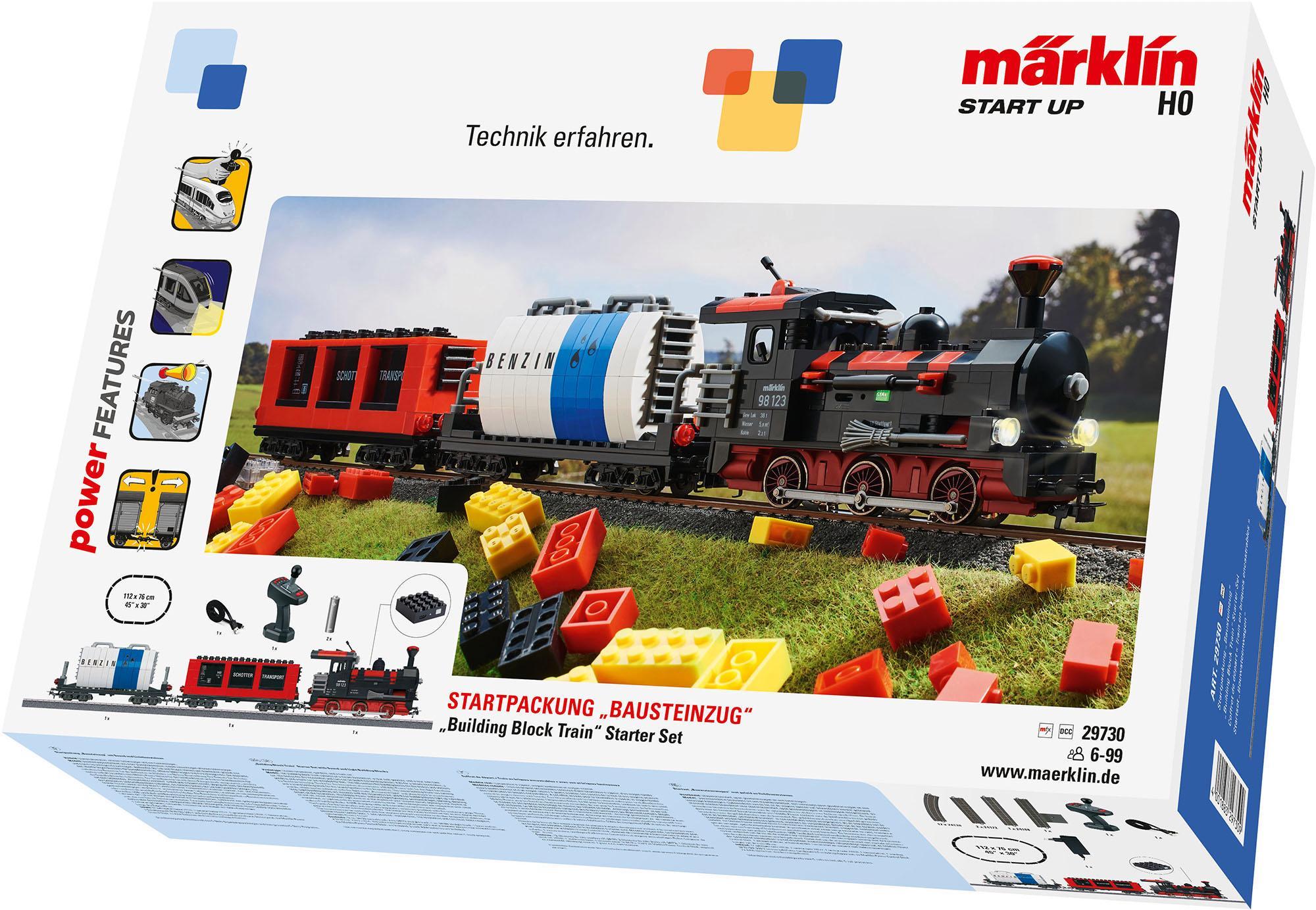 Märklin Spielzeugeisenbahn-Set Märklin Start up - Startpackung Bausteinzug mit Sound und Lichtfunktion - 29730, Spur H0, (Set)