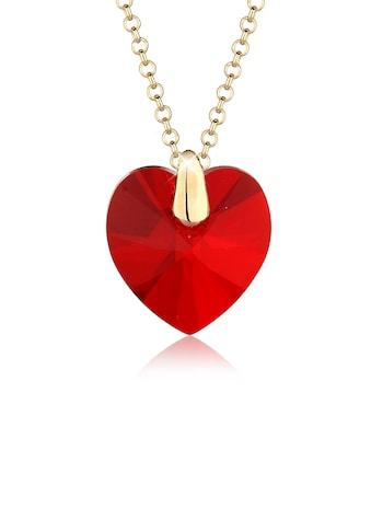 Elli Collierkettchen »rotes Herz Swarovski Kristall 925 Silber vergoldet« kaufen
