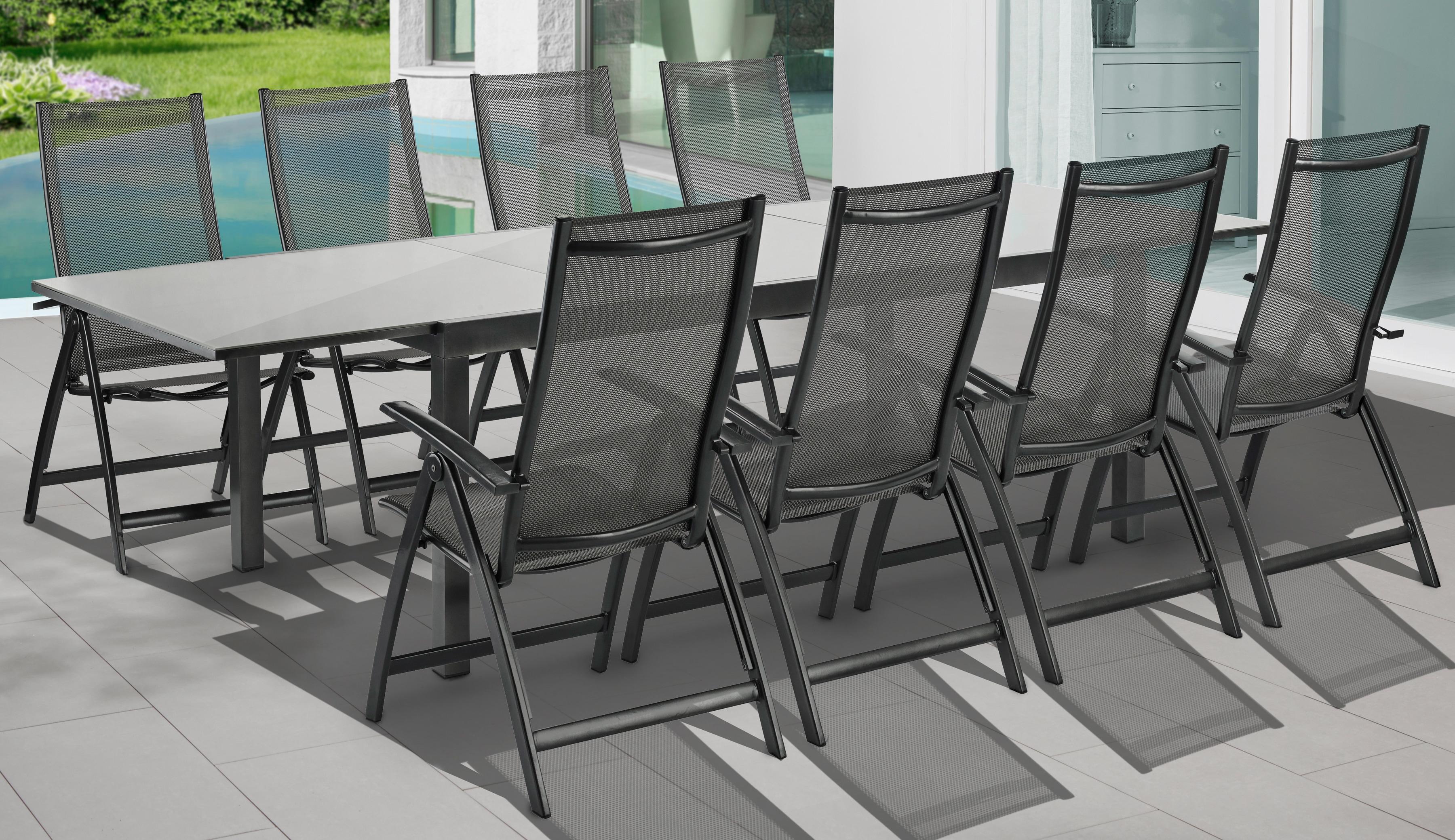 MERXX Gartenmöbelset Vicenza 9-tlg 8 Klappsessel Tisch 110x200 cm Alu/Textil grau