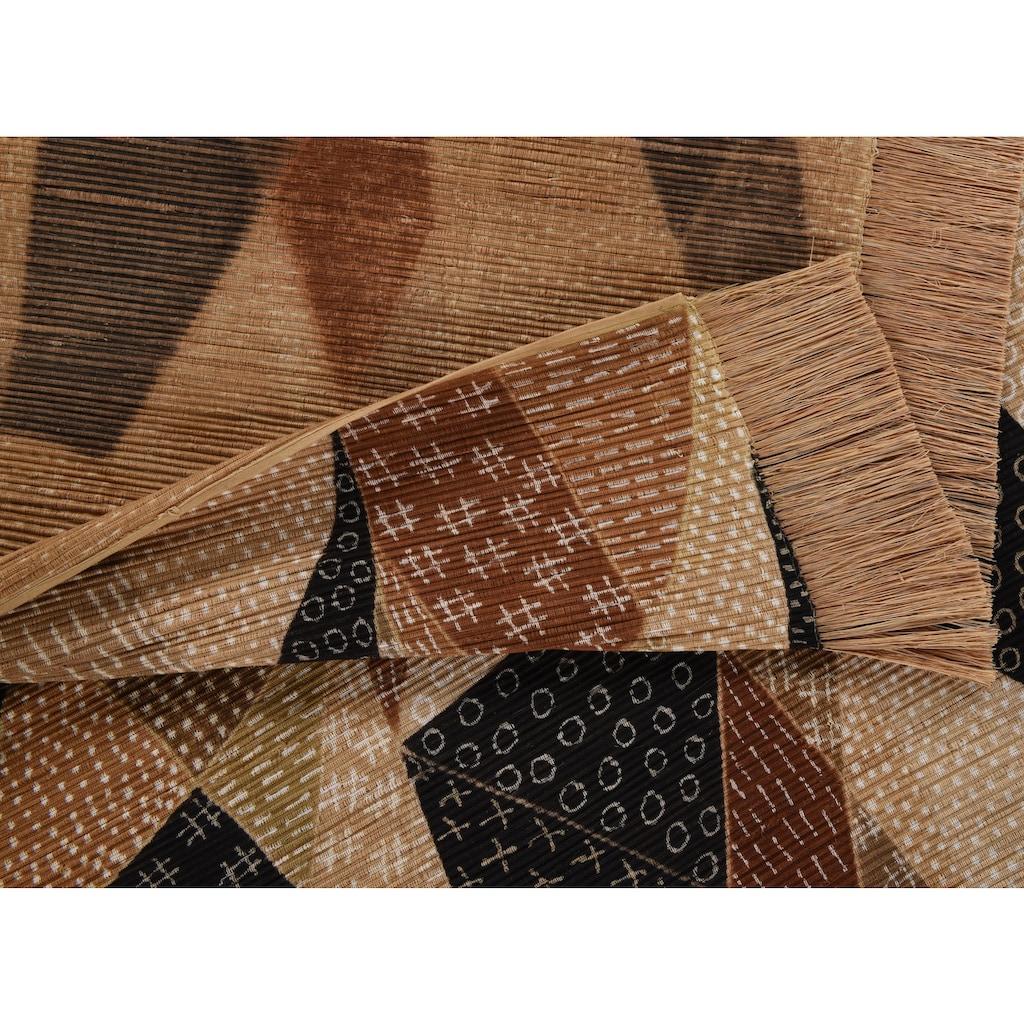 DIE HAUSKUNST Teppich »Chiya Tiama 4«, rechteckig, 4 mm Höhe, Flachgewebe, handgewebt, mit Fransen, Wohnzimmer