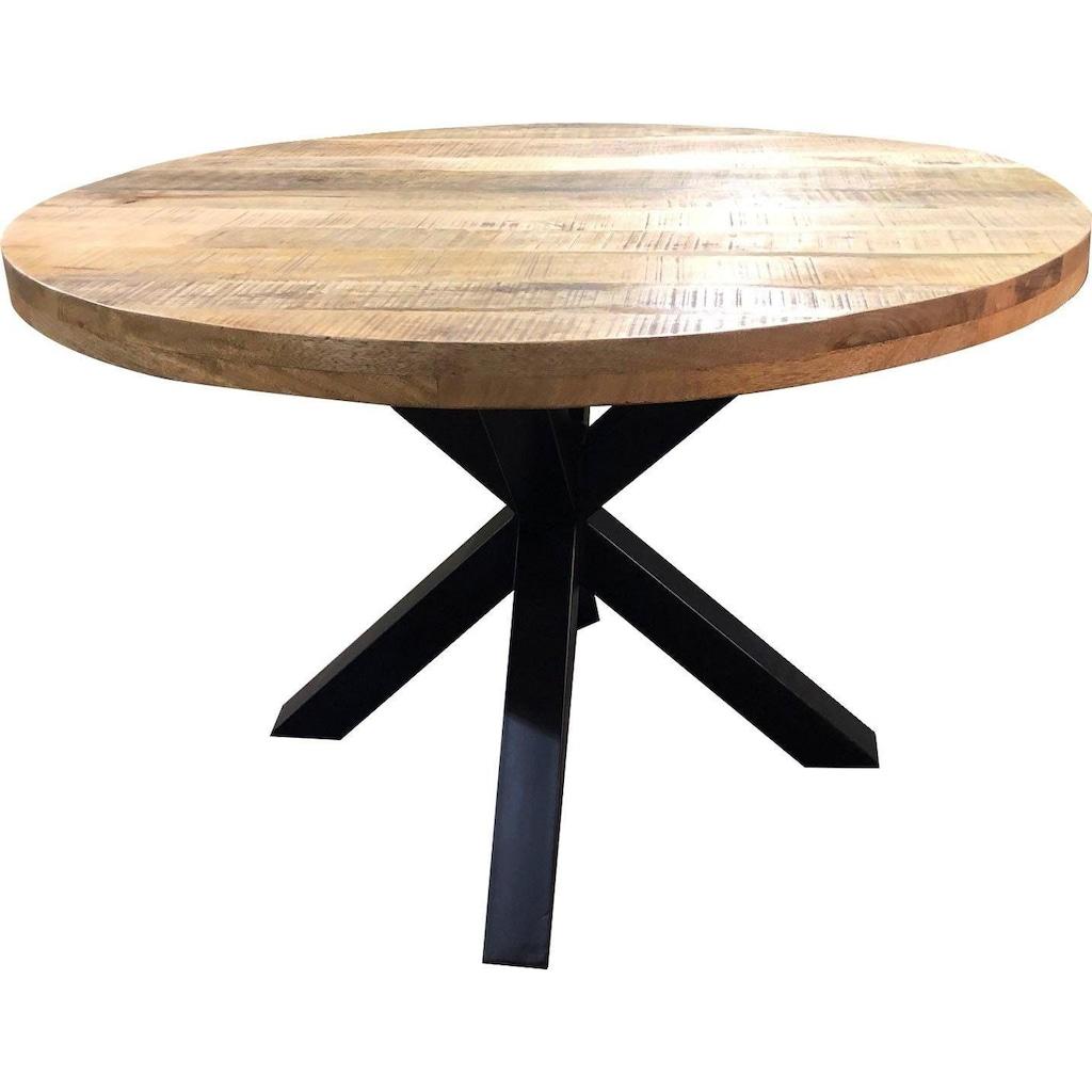 SIT Esstisch »Tops&Tables«, mit rustikaler runder Tischplatte aus Mangoholz