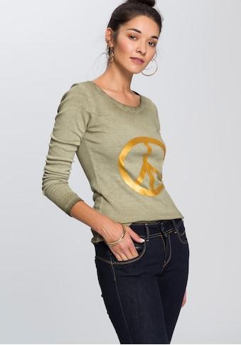 AJC Langarmshirt, mit Print und besonderer Used-Waschung kaufen