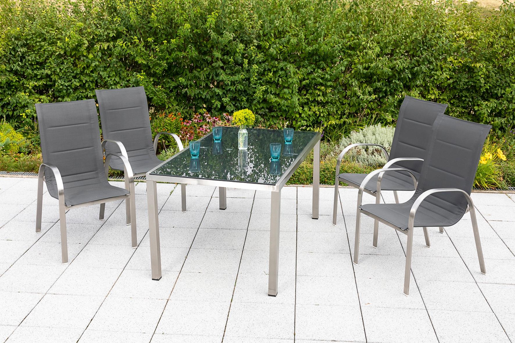 MERXX Gartenmöbelset Lucca 5-tlg 4 Sessel Tisch 150x90 cm Edelstahl/Textil