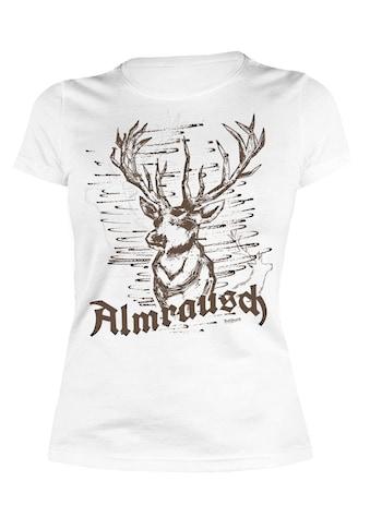 Der Trachtler T - Shirt mit modischem Frontdruck »Almrausch  -  Hirsch« kaufen