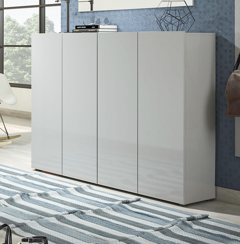 KITALY Schuhschrank Mister, Breite 160 cm, 4 Türen, Hochglanz Lackierung günstig online kaufen