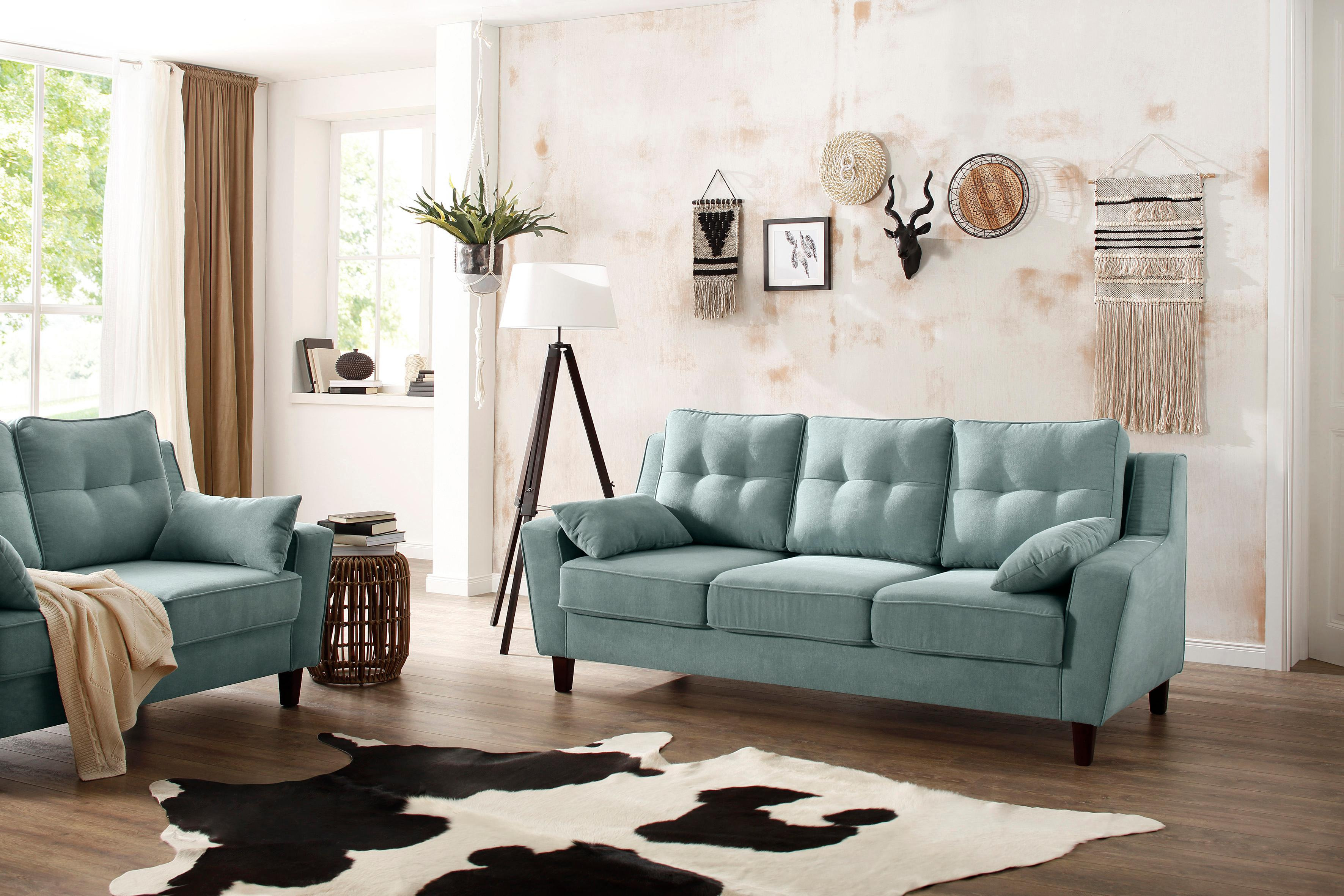 Home affaire 3-Sitzer Dione mit Massivholz Füßen