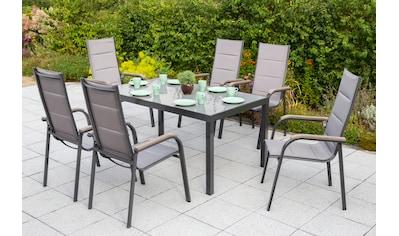 MERXX Gartenmöbelset »Trivero«, 7 - tlg., 6 Stapelsessel, Tisch 150x90 cm, Alu/Textil kaufen