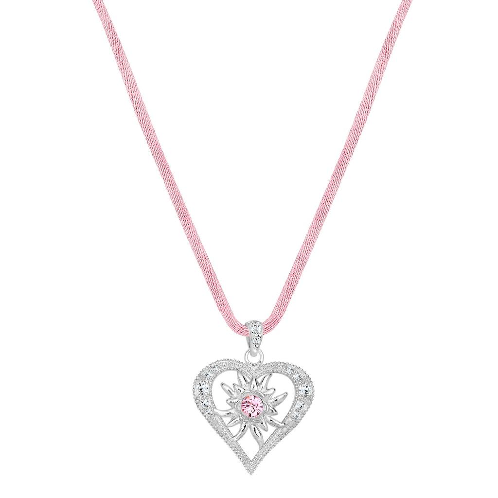 Elli Collierkettchen »Herz Edelweiss Kristalle 925 Silber«