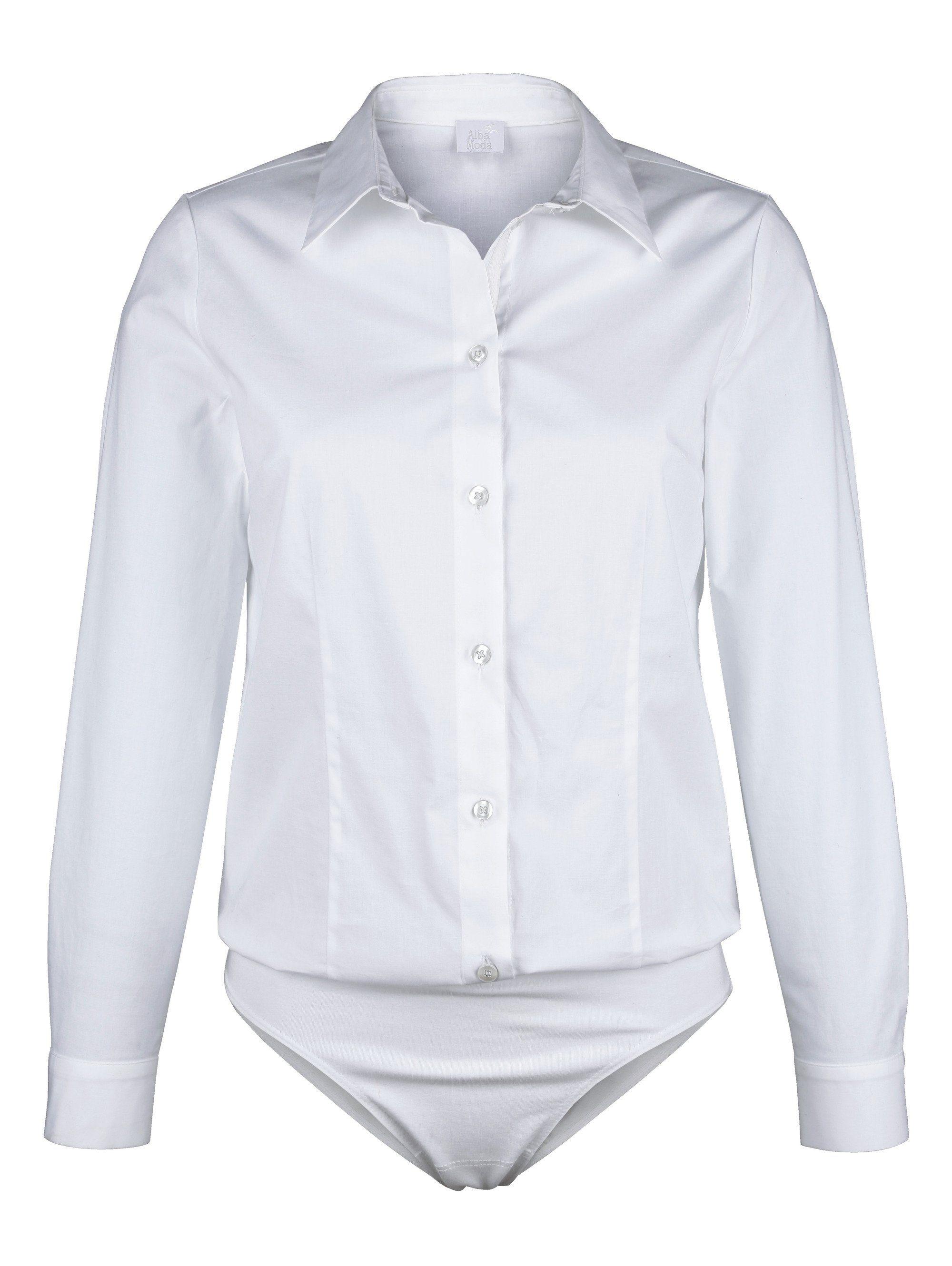 Alba Moda Blusenbody mit Hemdblusenkragen | Unterwäsche & Reizwäsche > Bodies & Corsagen > Blusenbodys | Weiß | Elasthan - Baumwolle - Jersey | ALBA MODA