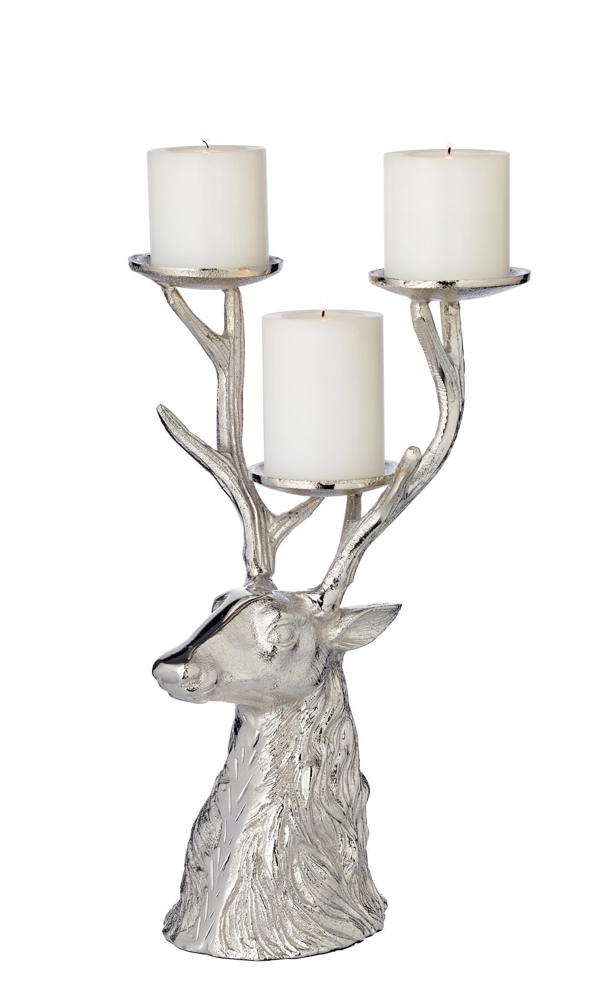 EDZARD Kerzenhalter Hirsch, für 3 Stumpenkerzen silberfarben Kerzen Laternen Wohnaccessoires