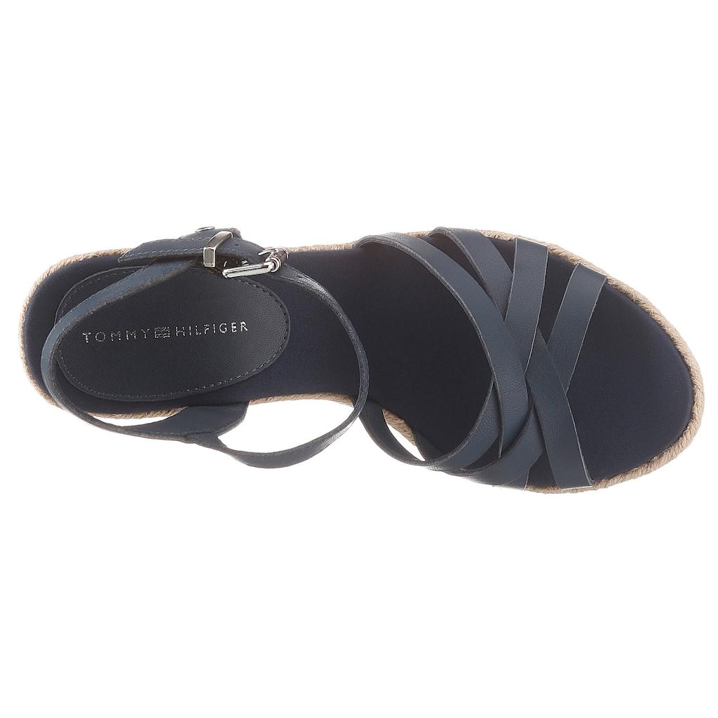 TOMMY HILFIGER High-Heel-Sandalette »TOMMY SEQUINS HIGH WEDGE SANDAL«, mit auffällig verziertem Keilabsatz
