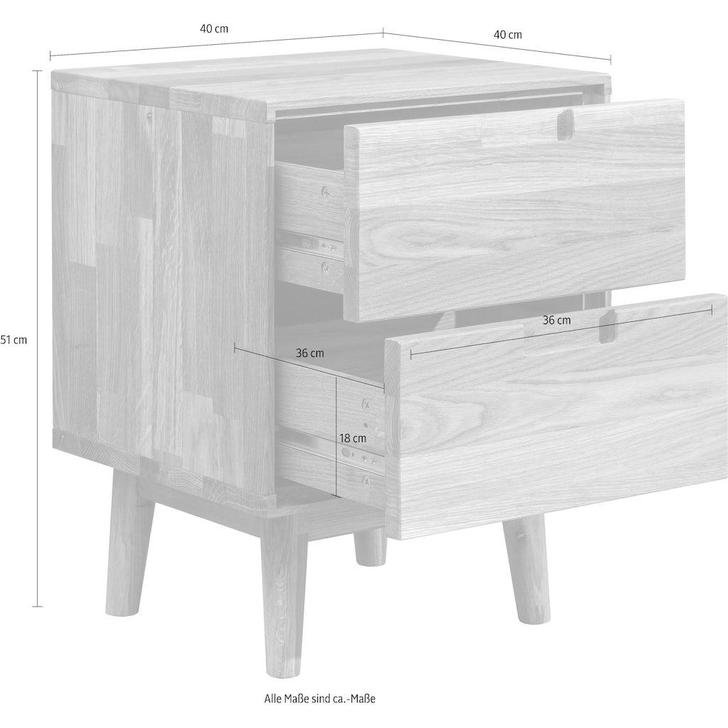 Home affaire Nachtkommode »Scandi«, aus massivem Eichenholz, mit starker Oberfläche, Breite 40 cm