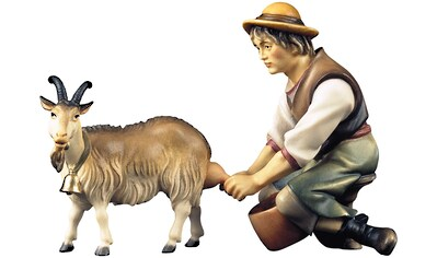 ULPE WOODART Krippenfigur »Hirte mit Ziege zum Melken«, Handarbeit, hochwertige... kaufen