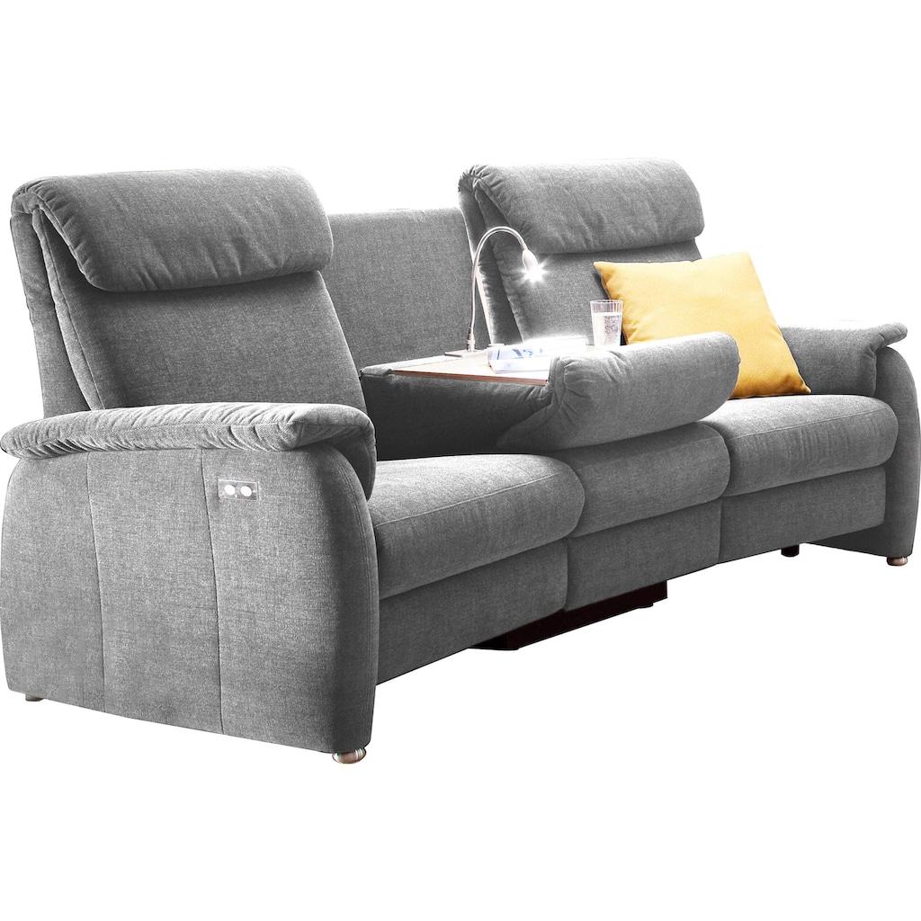 DELAVITA Sofa »Turin«, mit integrierter Tischablage, Leuchte und USB-Ladestation, wahlweise mit motorischer Relaxfunktion, auch in Leder erhältlich