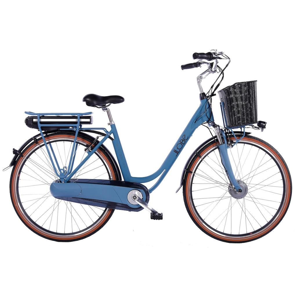 LLobe E-Bike »Blue Motion 2.0, 10,4Ah«, (mit Fahrradkorb)