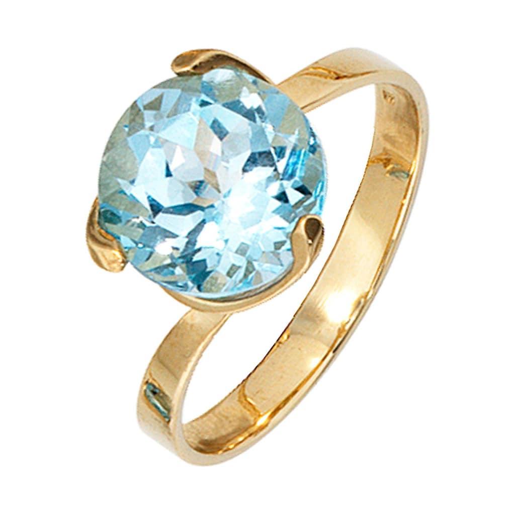 JOBO Goldring, 585 Gold mit Blautopas