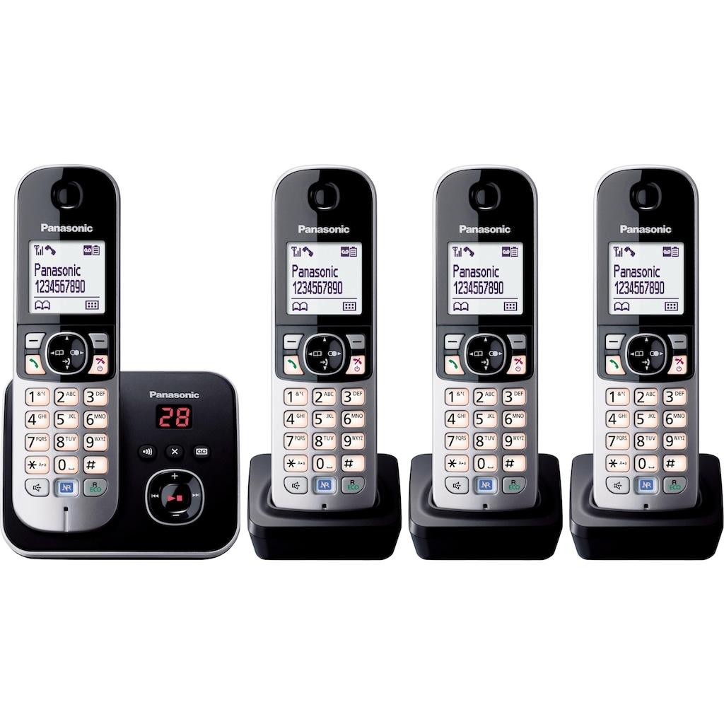 Panasonic Schnurloses DECT-Telefon »KX-TG6824GB«, (Mobilteile: 4), Nachtmodis, Freisprechen, Anrufbeantworter