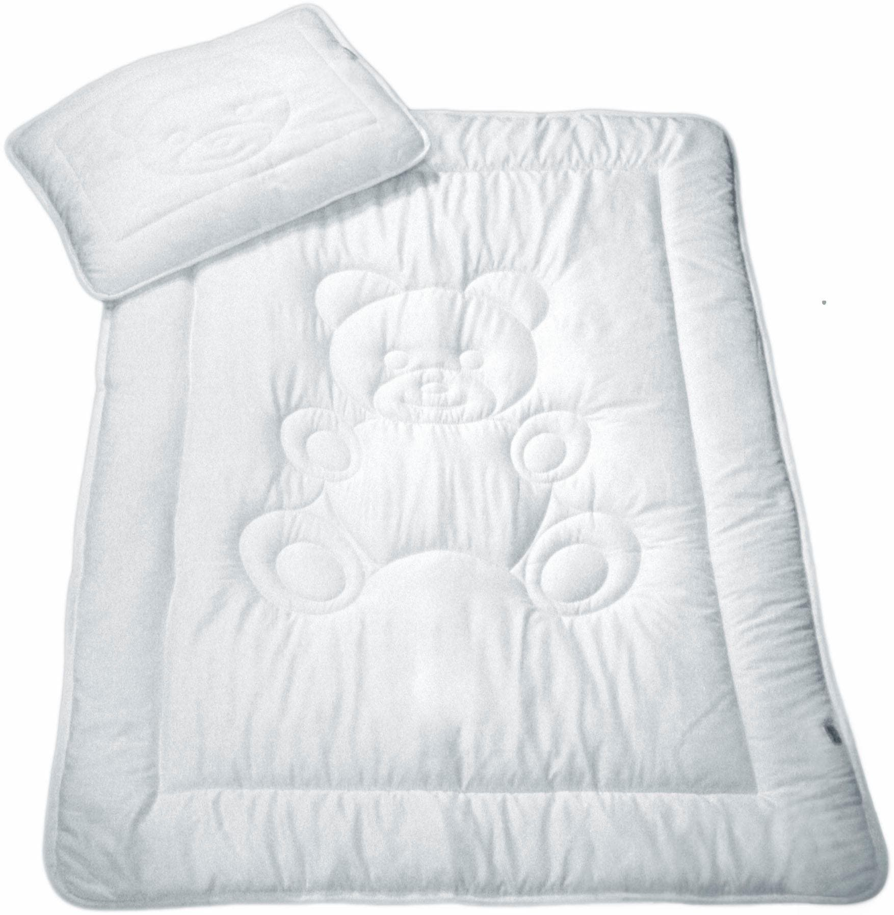 MESANA Kinderbettdecke + Kopfkissen Bär, (Spar-Set) weiß Kinder Bettdecken Bettdecken, Unterbetten