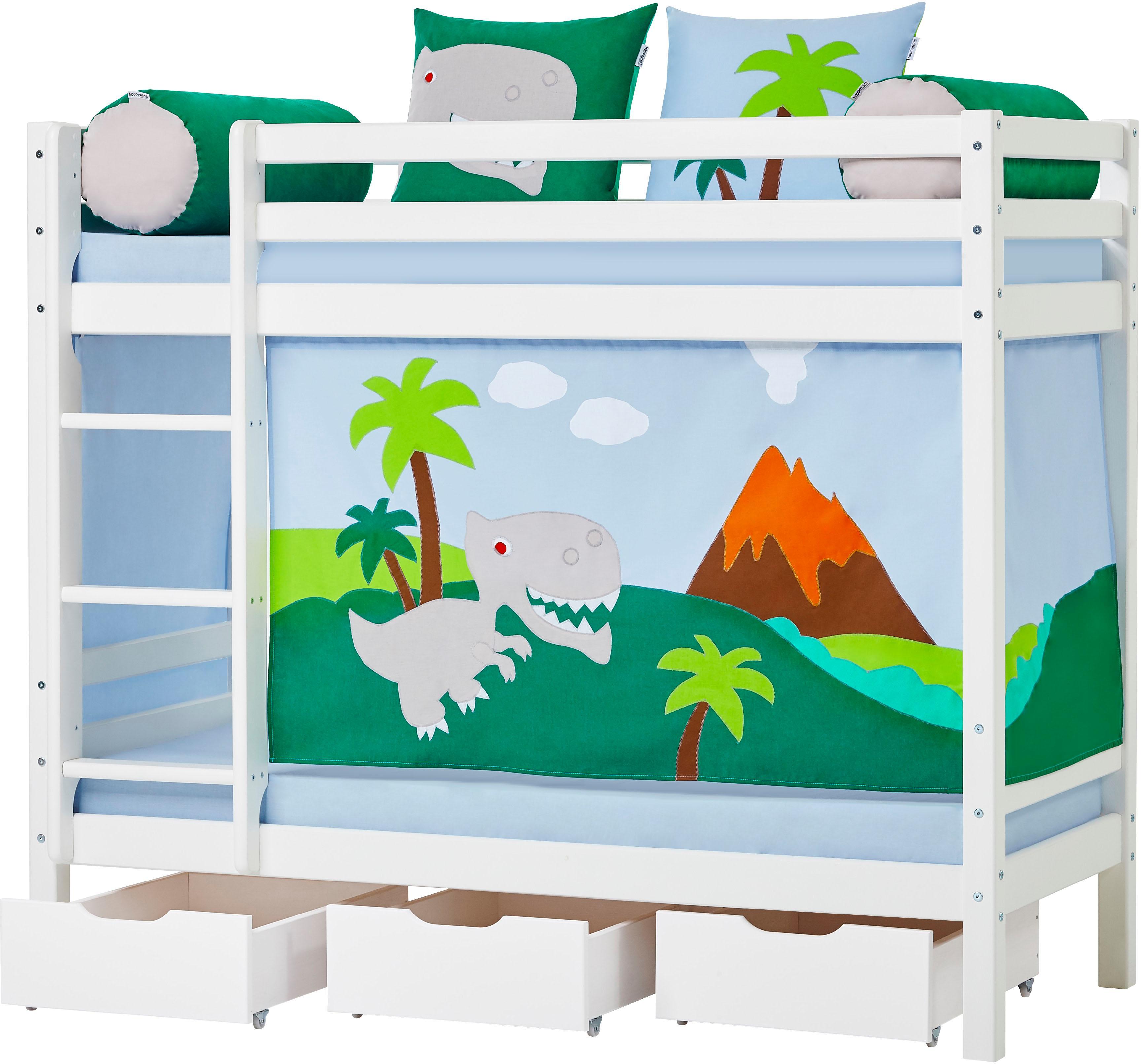 Hoppekids Etagenbett Dinosaurier inkl Vorhang-Set Matratzen und Rollroste